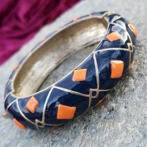 Vtg Retro Chunky Navy Orange Enamel MOD Bracelet